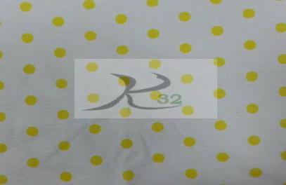 ผ้ายืดลายพิมพ์สีขาวลายจุดเหลือง