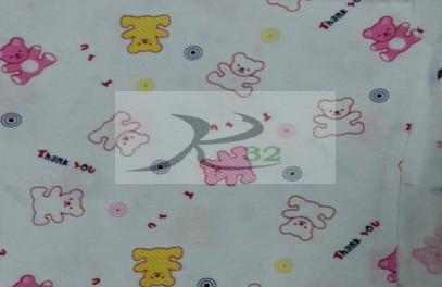 ผ้ายืดลายพิมพ์สีขาวลายหมี THANKYOU