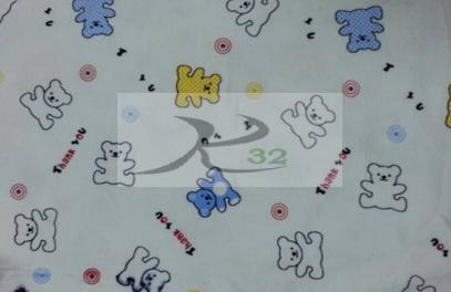 ผ้ายืดลายพิมพ์สีขาวลายหมี THANKYOU2